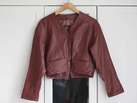 Vintage Cropped Leather Jacket Oldschool 90s Burgu
