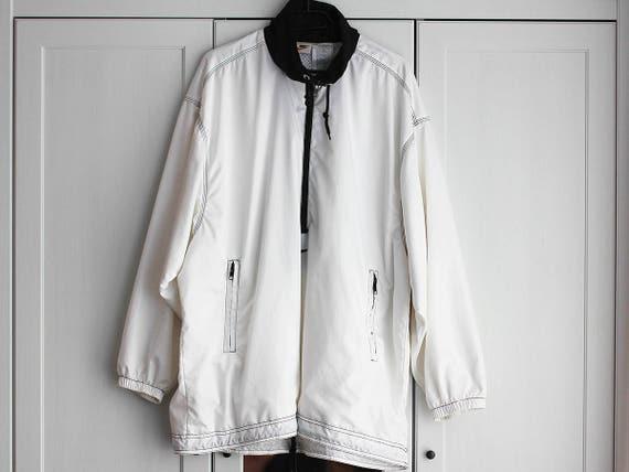 90er Jahre Weiß Nike Sweatshirt Jacke Oldschool Herren Damen Sportjacke Extra Groß