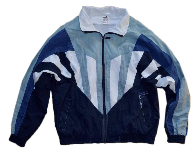 321d1cbbd6b0d 90s Puma Jacket Oldschool Sports Jacket Bomber Men Women Vintage Navy Blue  and White Extra Large