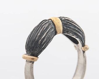24k gold modern ring-silver black ring-made to order