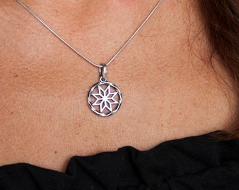 Alatyr silver pendant Celtic necklace for women Slavic protection Symbol of Life Pagan Viking jewelry amulet Thanksgiving gift with meaning