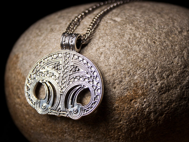 Lunula large Sterling Silver pendant Moon Powerful amulet Slavic Viking  necklace Female fertility symbol Celtic Pagan jewelry Gift for women