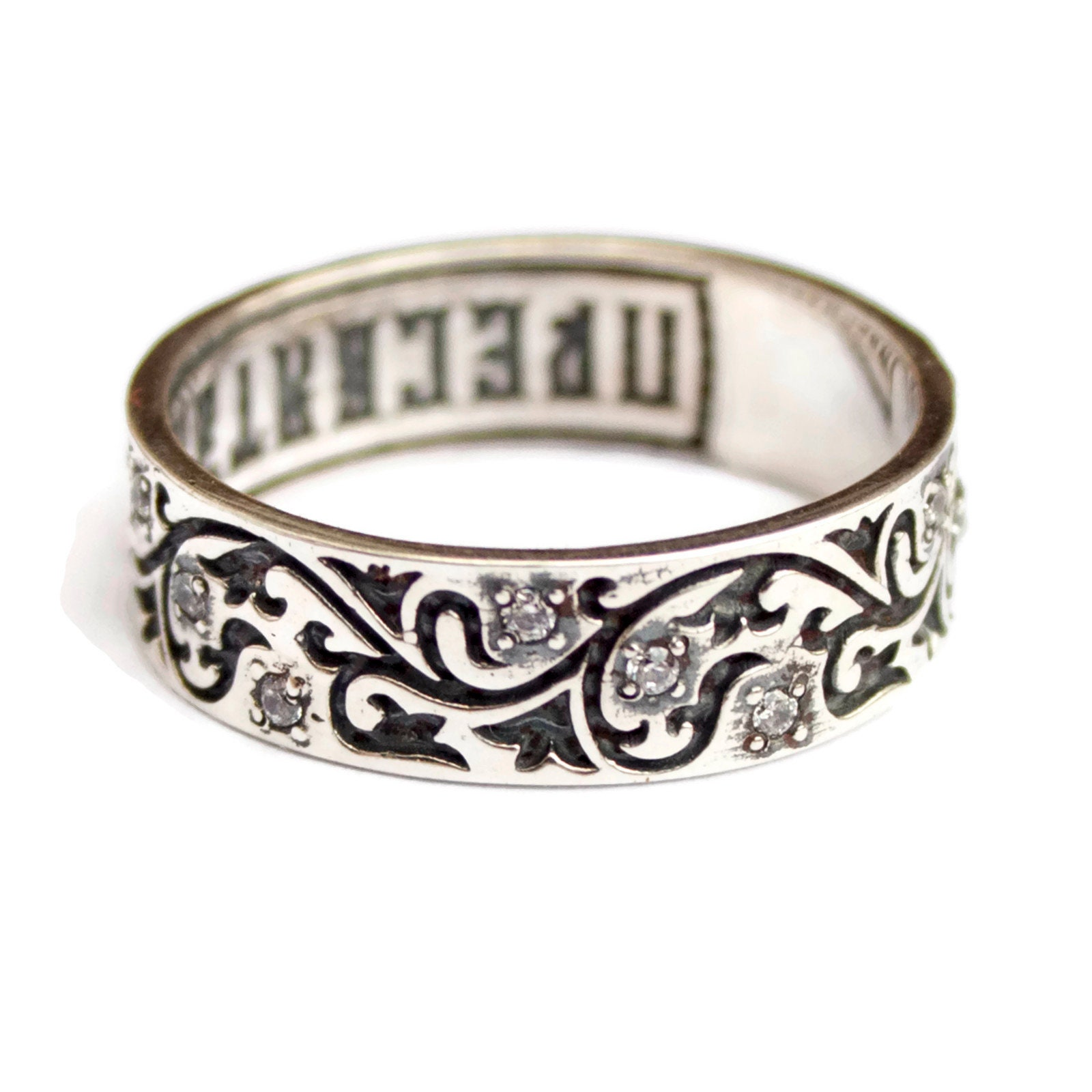 Blessing Bible Verses Engraved Christian 925 Sterling Silver Band Ring with  Prayer Russian Orthodox Faith Jewelry Confirmation Baptism Gift