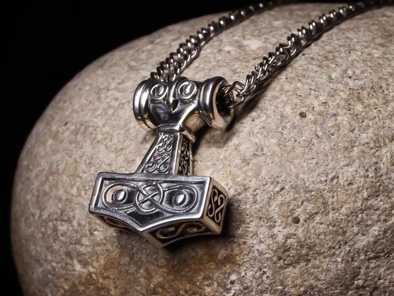 Thor Hammer Mjolnir Anhänger Halskette 925 Sterling Silber Odin Viking Axt Amulett keltische nordischen nordischen Schmuck