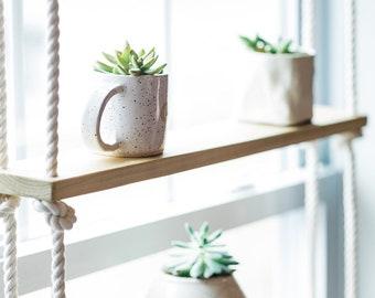 CUSTOM / Poplar / Rope / Hardware / Minimilist / Hanging Shelf Unit