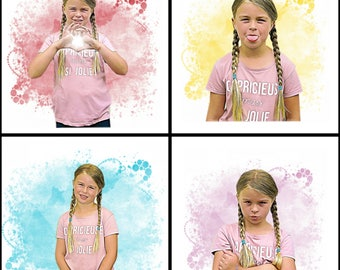 Custom portrait of your child's drawing send digital 4 photos