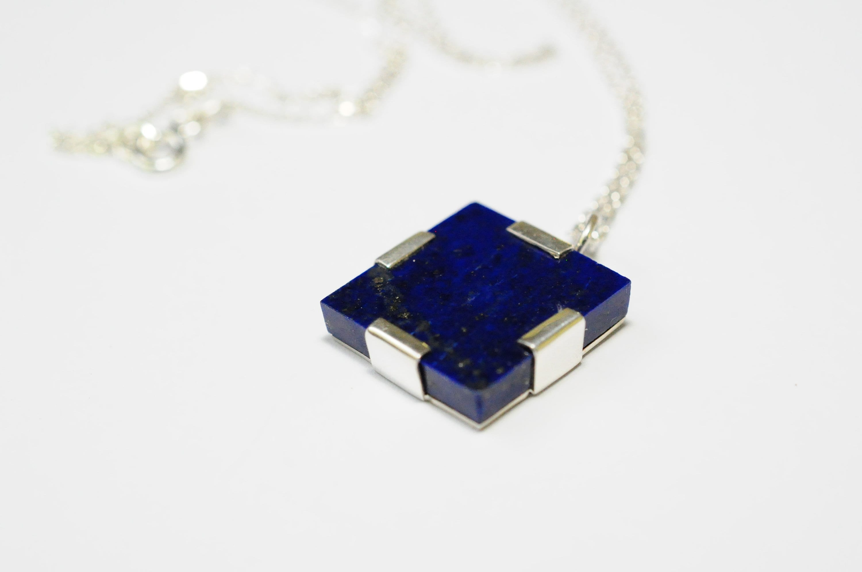 Natural Lapis Lazuli Silver Pendant 925 Sterling Silver Blue Big Gemstone Everyday Pendant Handmade Pendant Statement Pendant Gift For Her
