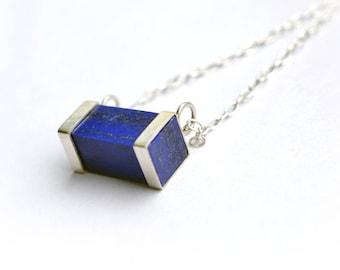 Silver Lapis Necklace, Lapis Lazuli Sterling Silver Pendant, Gold Plated Lapis Necklace, Rectangle Lapis Pendant, Lapis Necklace,