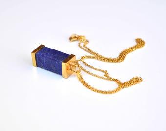 Lapis Necklace, Lapis Lazuli gold plated Pendant, Silver Lapis Necklace, Rectangle Lapis Pendant, Lapis Necklace, lapis lazuli necklace