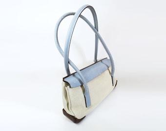 ed034404fe89 PRADA 1990's Leather and Canvas Linen Blue Cream Brown Shoulder Bag