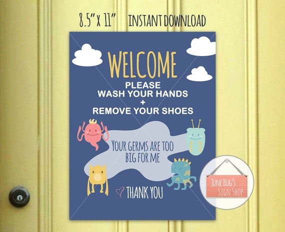 Wash Hands Welcome Sign Printable Instant Download Front Etsy