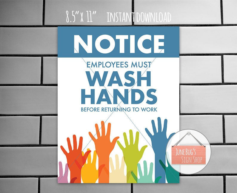 photograph about Wash Hands Sign Printable titled Clean Arms Indication, PRINTABLE Fast Down load, Workforce Need to Clean Palms Ahead of Returning toward Energy