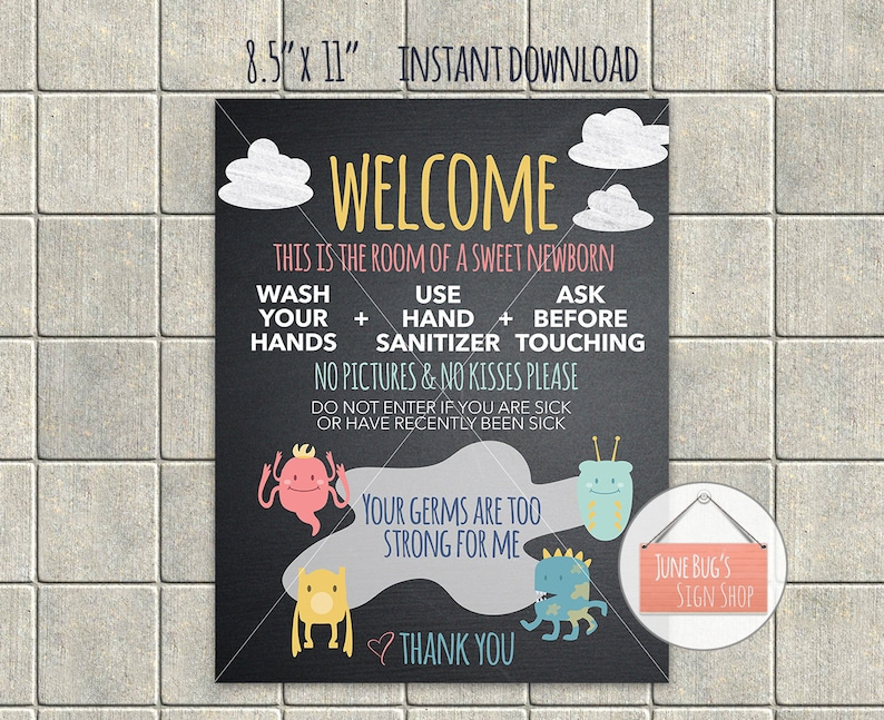 photo about Wash Hands Sign Printable referred to as Little one Clean Fingers Signal, PRINTABLE Quick Down load, Chalkboard indicator, No kisses, No visuals