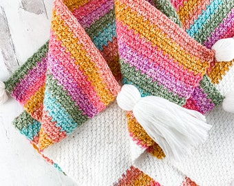 Crochet Linen Stitch Blanket Pattern - Instant Download