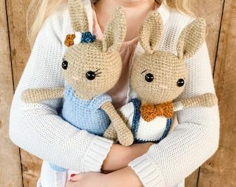 Amigurumi Bunny Crochet Pattern - PDF Instant Printable Download- Boy and Girl Version