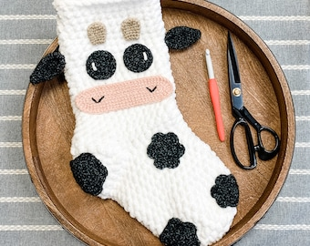 Crochet Cow Stocking Pattern - Instant Download