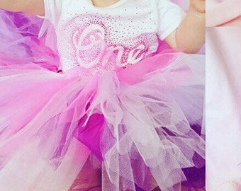 first birthday outfit girl - cake smash outfit - baby vest and tutu - Glitter