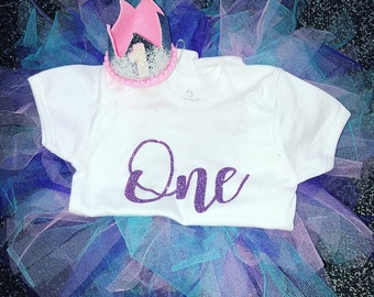 first birthday outfit girl - cake smash outfit - baby vest and tutu - Glitter -1st birthday