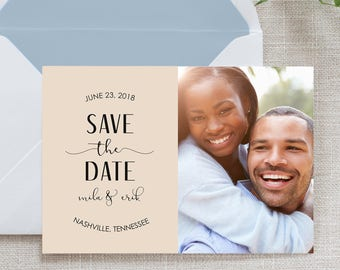 Photo Calligraphy Save the Date, Flat Card, Postcard | Deposit