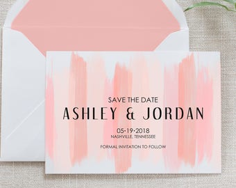 Blush Brush Stroke Save the Date, Flat Card, Postcard | Deposit