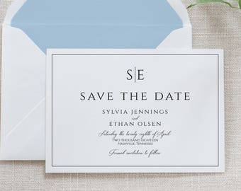 Modern Black and White Save the Date, Flat Card, Postcard | Deposit