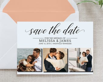 Photo Calligraphy Save the Date, Flat Card, Postcard, Collage | Deposit