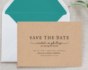 Rustic Kraft Paper Wreath Calligraphy Save the Date, Flat Card, Postcard | Deposit