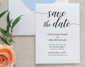 Black and White Calligraphy Save the Date, Flat Card, Postcard | Deposit