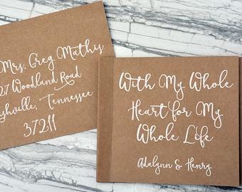Bound Kraft Flipbook Wedding Invitation, Postcard RSVP, Custom Minibook, Calligraphy, Rustic, Custom, SET OF 25