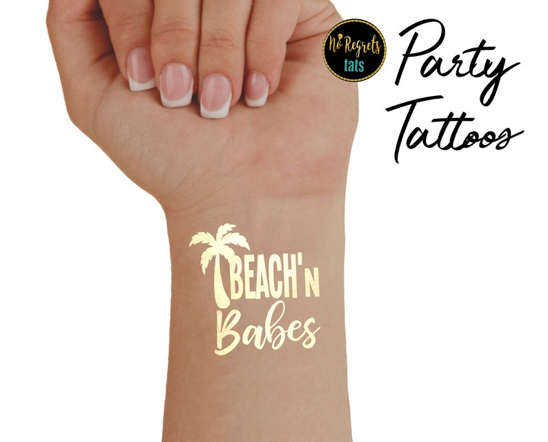 dd1e466e0 Beach Party Tattoos / Gold Party Tattoo / Tropical party   Etsy