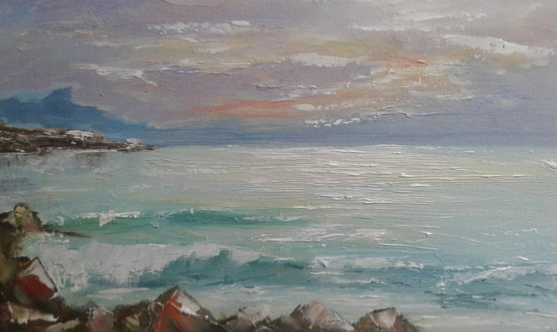 Ocean Scene, Original Affordable Ready to Hang Canvas Painting Wrapped  Canvas Painted on all Sides Seascape Sunset Seascape Stretched canvas