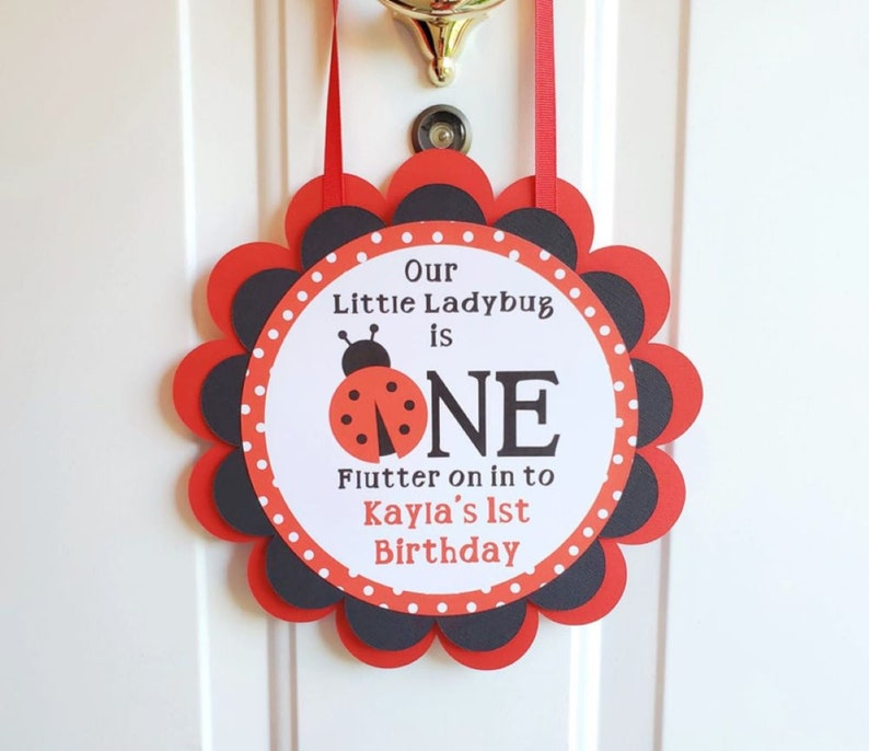 Ladybug Door Sign 1st Birthday Party Welcome Sign Cute as a image 0