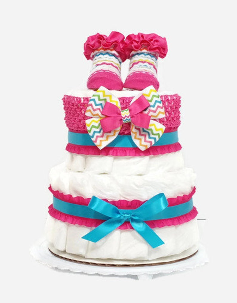 2 Tier Diaper Cake With Headband and Booties Girl Baby Shower image 0