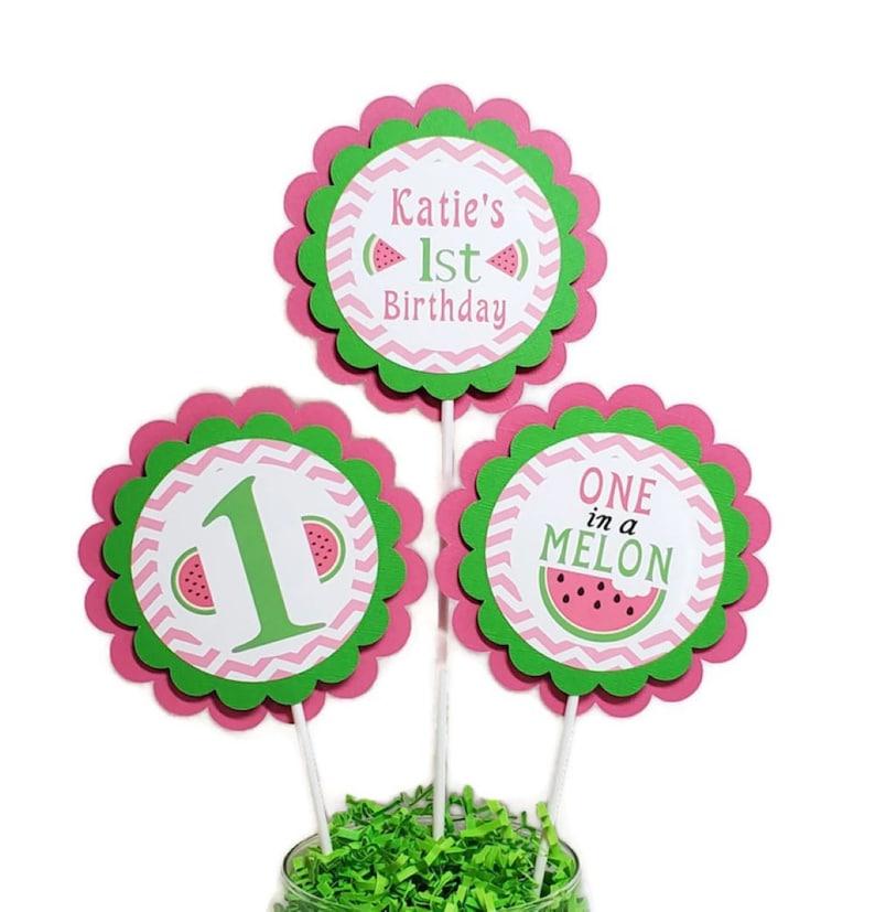 Watermelon Birthday Centerpiece Sticks One In A Melon Girl image 0