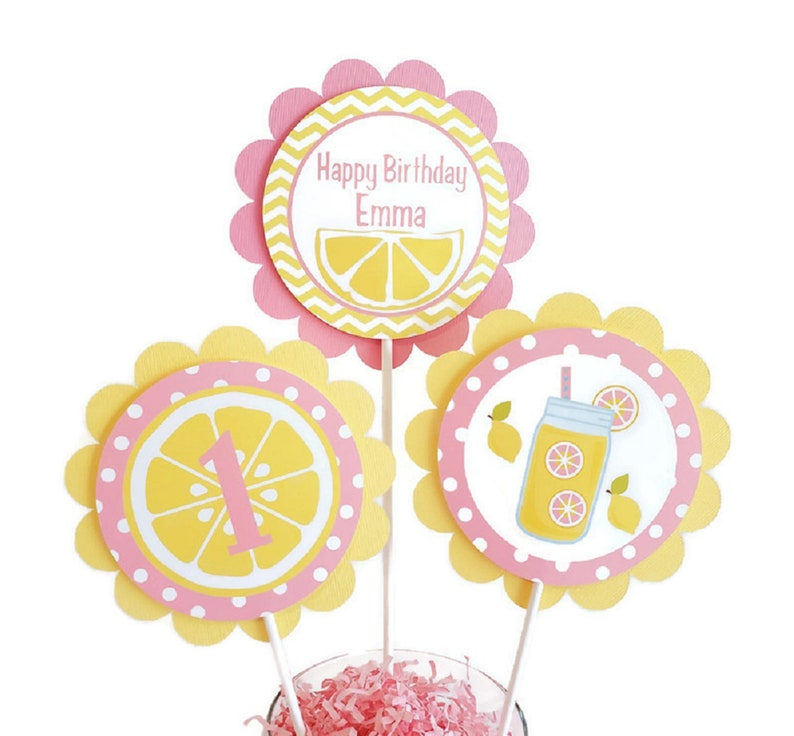 Lemonade Birthday Party Centerpiece Sticks Girl Birthday image 0