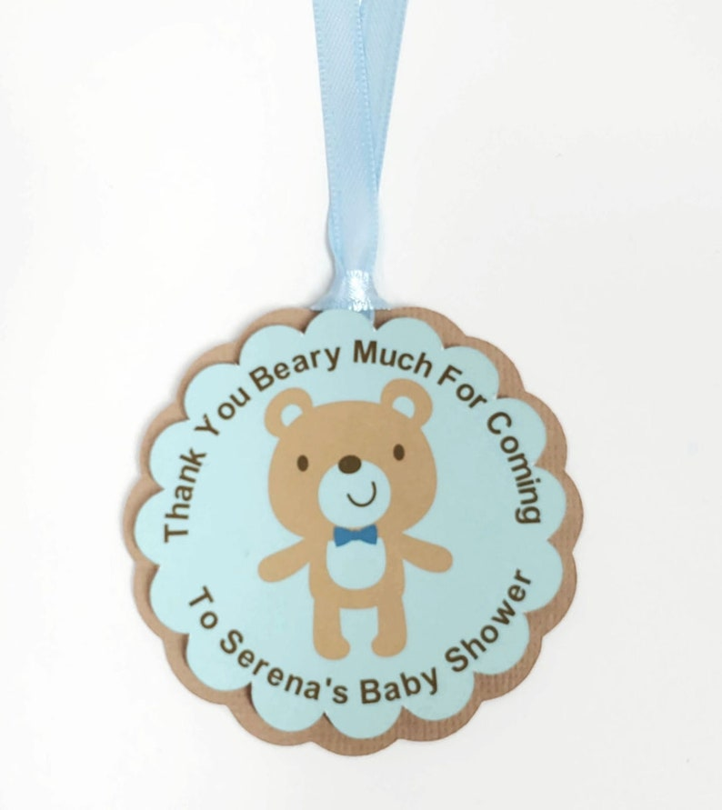 Baby Boy Teddy Bear Favor Tags Blue Baby Shower Party image 0