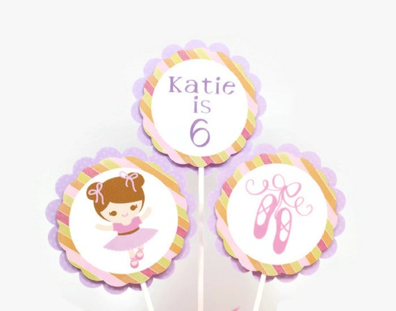 Ballerina Cake Toppers Ballerina Centerpiece Sticks Ballet Theme Girl Birthday Party Decorations Personalized Name /& Age