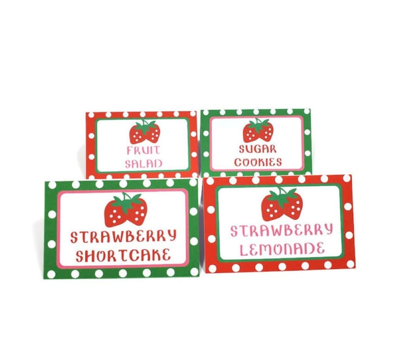 Strawberry Food Tents Buffet Labels Strawberry Place Cards image 0