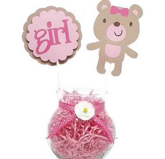 Girl Owl Centerpiece Sticks Baby Shower Cake Toppers Pink Gray /& Mint Green