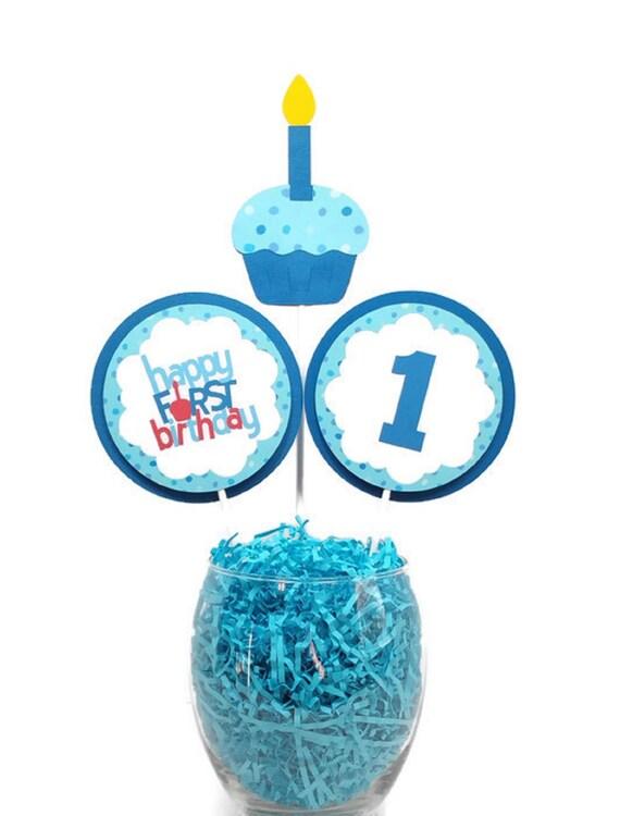 Swell Happy First Birthday Boy Centerpiece Sticks Birthday Party Birthday Cards Printable Opercafe Filternl