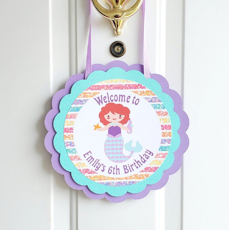Mermaid Door Sign Girl Birthday Party Welcome Sign Under the image 0
