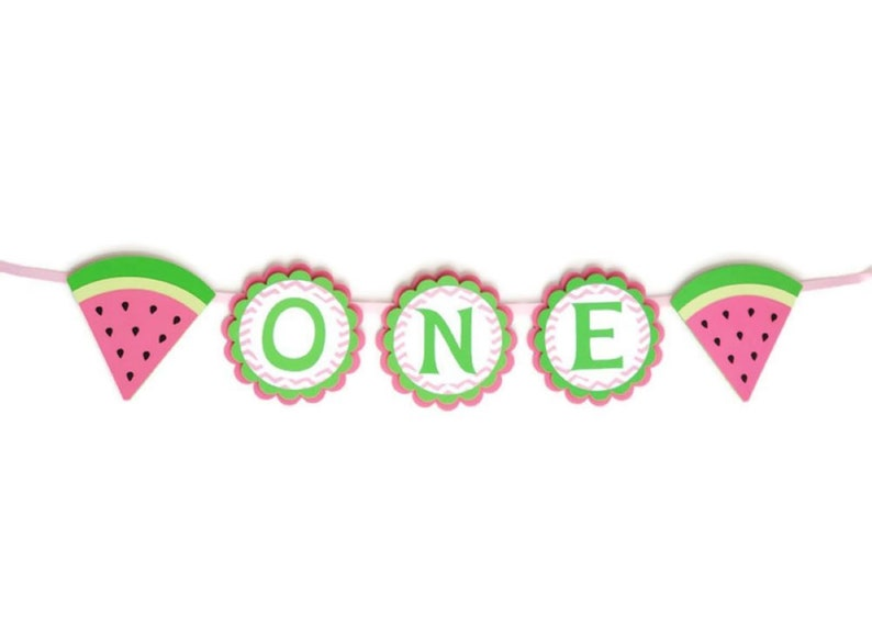 Watermelon High Chair Banner Girl 1st Birthday Party image 0