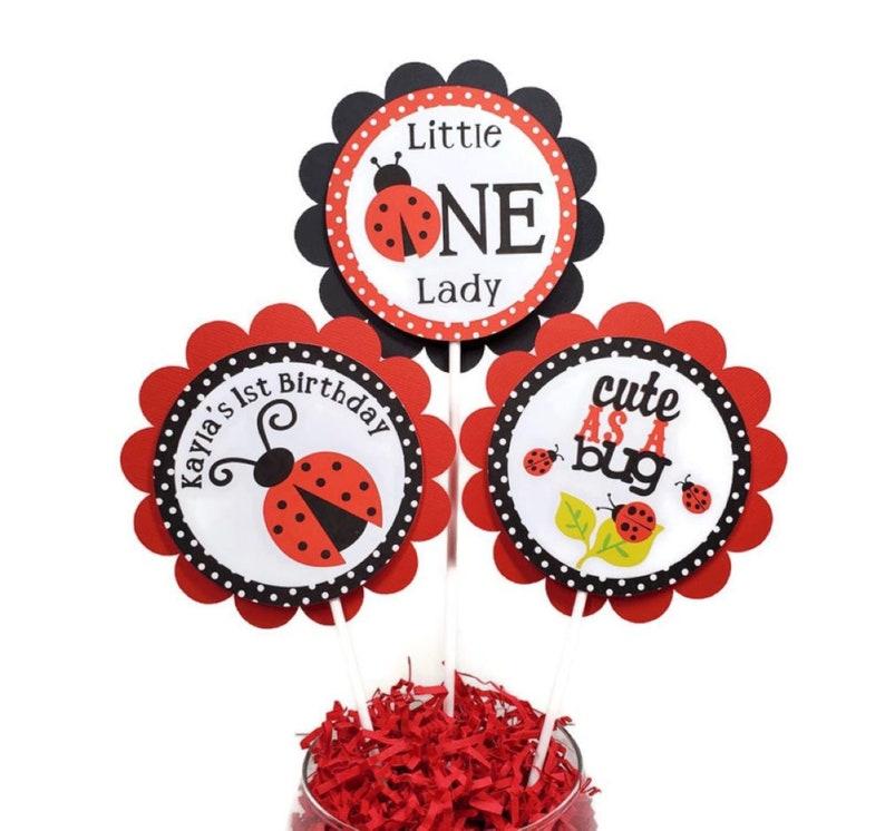 Ladybug First Birthday Centerpiece Sticks Baby Girl 1st image 0