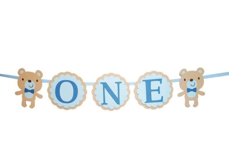 Baby Boy Teddy Bear High Chair Birthday Banner 1st Birthday image 0