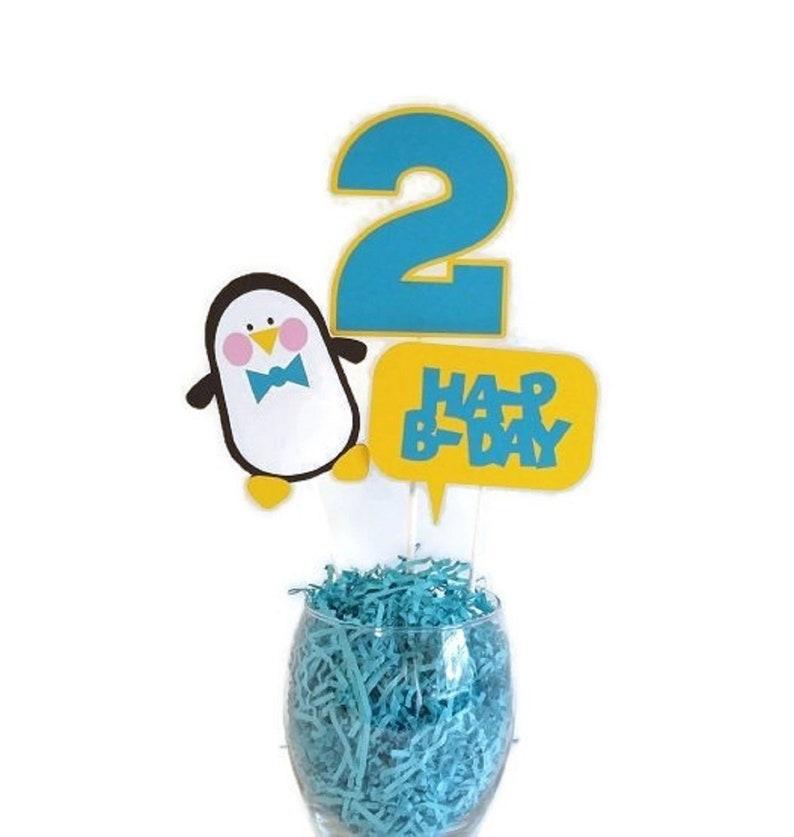 Penguin Centerpiece Sticks Blue Penguin Cake Toppers Boy image 0