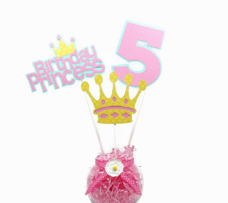 Princess Centerpiece Sticks Royal Princess Cake Toppers Girl image 0