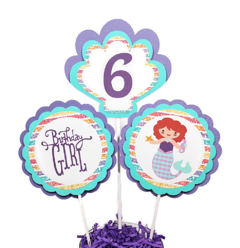 Mermaid Cake Toppers Centerpiece Sticks Under The Sea Girl image 0
