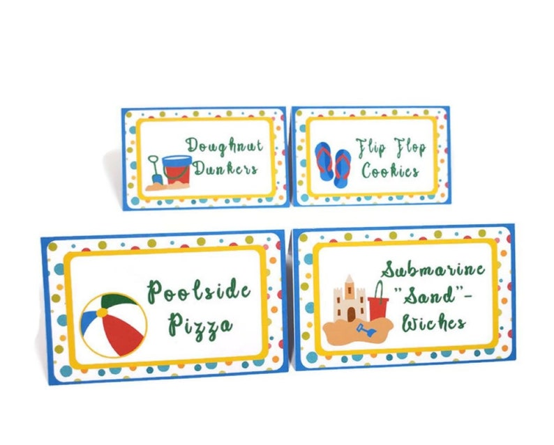 Pool Party Food Labels Tent Cards Blue Green Yellow Red image 0
