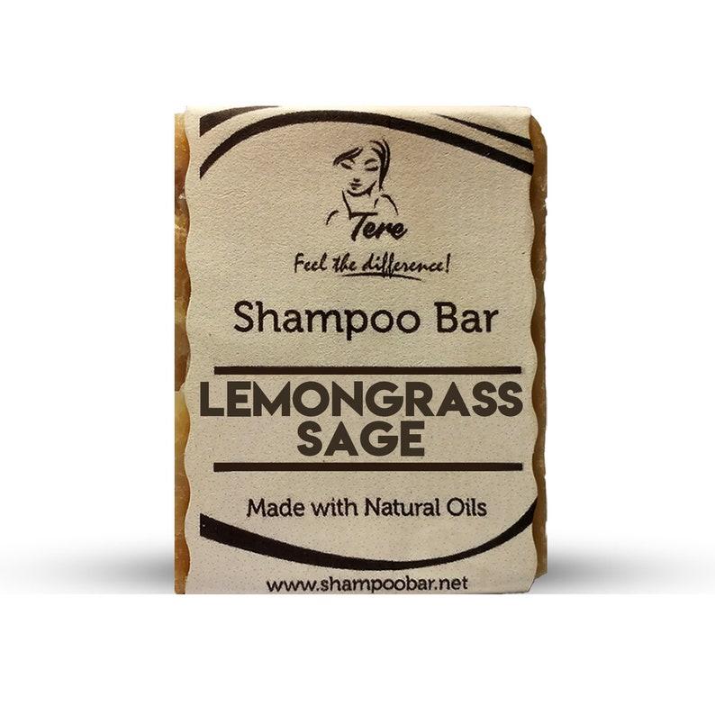 Lemongrass Sage Natural Shampoo Bar / Sulfur and Paraben Free Cleansing  Solid Shampoo / Lemongrass Essence and Sage Infuse