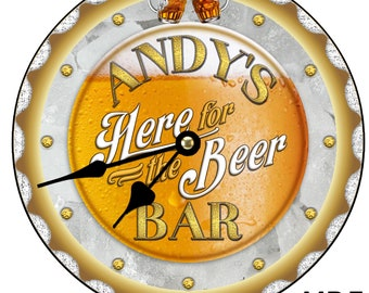 Here For The Beer Beer O'CLOCK Large 30 cm MDF Wooden Wall Clock Bar Pub Man Cave Can be personalised